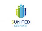 Zeichen, Signet, Logo, Gruppe, Mensch, Team, 5, United