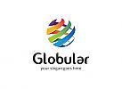 Ö Kugel, Globus, bunt, Streifen, modern, Rotation Logo