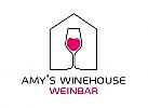 Zeichen, Signet, Skizze, Logo,Weinhandlung, Trinken, Wein, Bar, Restaurant, Herz, Haus