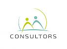 zwei Menschen, Zeichen, Signet, Skizze, Logo, Consulting