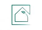 Ökohaus, Zeichen, Signet, Skizze, Logo, Immobilie, Architekt