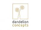Zeichen, Signet, Skizze, Logo, Blume, Quadrat, Dandelion