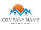 Zwei Häuser, Sonne, Immobilien, Ferienwohnung, Logo