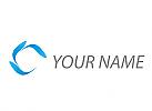 Spirale aus Tropfen in blau Logo