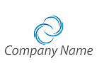 Zwei Spirale, Wellen, Linien in blau Logo