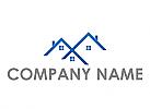 Drei Häuser, Dächer, Dachdecker Logo