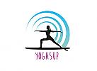 Zeichen, Signet, Logo, Yoga, Sport, SUP Board, Surfen, Welle, Wasser