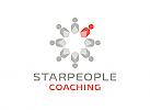 Zeichen, Signet, Skizze, Menschen, Kreis, Stern, Coaching, Logo
