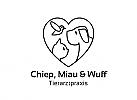 Zeichen, Signet, Logo, Vogel, Katze, Hund, Herz, Tierarztpraxis