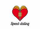 Logo, Signet, Zeichen, Herz, Speed-dating,