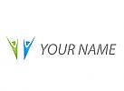 Zwei Personen, Menschen, abstrakt, Logo