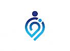 Zeichen, Signet, Logo, Mensch, Hebamme, Kinderarzt, Mutter, Kind, Baby, Abstrakt