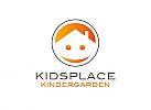 Zeichen, Signet, Logo, Gesicht, Haus, Kindergarten, Kreis