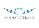 Zeichen, Signet, Logo, Zahnarztpraxis, Zahn, Flügel, Welle