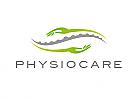 Zeichen, Signet, Logo, Physiotherapie, Orthopädie, Wirbelsäule, Hände