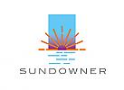 Zeichen, Signet, Skizze, Logo, Sonnenuntergang, Meer, Sonne