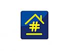 Zeichen, Signet, Logo, Haus, Immobilie, Smarthome, Hashtag, Handwerk, Hausbau, Renovierung, Sanierung, WDVS, Fenster, Tür, Dach, Boden