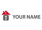 Öko, Zeichen, Symbol, Skizze, Haus, Stecker, Steckdose, Elektriker, Logo