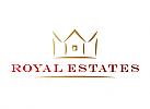 Zeichen, Symbol, Signet, Logo, Haus, Immobilienmakler, Krone, Gold, Pinselstrich