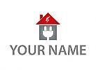 Öko, Zeichen, Symbol, Skizze, Haus, Stecker, Blitz, Elektriker, Logo