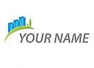 Ökostadt,Öko, Zeichen, Symbol, Skizze, Hochhäuser, Wiese, Logo