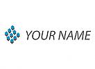 Zweifarbig, Zeichen, Zeichnung, Viele Rechtecke, Pixel, Daten, Big Data, IT Logo