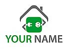 Zeichen, Zeichnung, Symbol, Stecker, Steckdose, Haus, Elektriker, Logo
