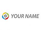 Würfel und Pfeile, Farbig, Logo
