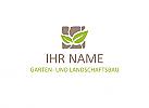 Logo mit Natursteinen und grünen Blättern