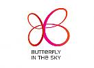 Zeichen, Zeichnung, zweifarbig, Signet, Symbol, Logo, Schmetterling, Flügel