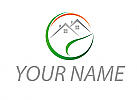 Ökostadt, Ökologie, Zeichen, Zeichnung, Signet, Häuser, Sonne, Wiese, Logo