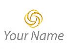Wellen, Sonne in Gold Logo