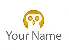 Ökologie, Zeichen, Zeichnung, Signet, Vogel, Eule, Gold, Logo