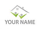 Ökostadt, Zwei Personen, Haus, Logo