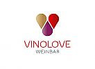 Zeichen, Symbol, Signet, Herz, Tropfen, Logo, Marke, für Weinhandlung, Weinbar