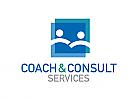 Zweifarbig, Zwei Menschen, Zeichen, Signet, Logo, Coaching, Consulting