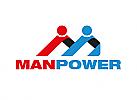 Zwei Menschen, zweifarbig, Zeichen, Signet, Symbol, Handwerk, Bau, Unternehmen, M