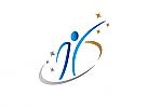 Zeichen, Symbol, Logo Mensch, Sport, Tanz, Sterne, Bogen