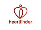 Zeichnung, zweifarbig, Signet, Logo, Herz, Finder, Mensch