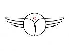 Zeichnung, Zeichen, zweifarbig, Signet, Logo, Sirene, Mensch, Frau, Flügel, Arztpraxis