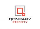 Zeichen, Signet, Logo, Quadrat, abstrakter Buchstabe Q