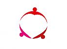 Zeichen, zweifarbig, Signet, Logo, Gruppe, Menschen, Herz