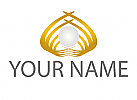 Zeichen, Zeichnung, Symbol, Signet, Perle, Wellen, Gold, Logo