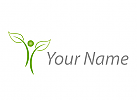 Person und Blätter, Pflanze, Logo