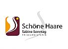 Logo, Markenzeichen, Haare, Friseurladen, Frisergeschäft