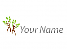 Zwei Personen als Bäume, Pflanze, Logo