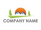 Ökologie, Zwei Häuser, Sonne und Bäume Logo