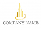 Zweifarbig, Zeichen, Zeichnung, Symbol, Signet, Skyline, Fünf Hochhäuser in Gold Logo