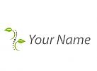 Öko-Medizin, Zwei Blätter, Pflanzen und Wirbelsäule, Chiropraktiker Logo
