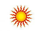 Logo, Markenzeichen, Sonne, brennende Sonne, Sonnenstrahlen, Umwelt, Energie, Urlaub